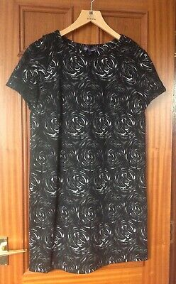 MARKS AND SPENCER BEST OF BRITISH BLACK FLORAL HEAVY DRESS SIZE 14 BRAND