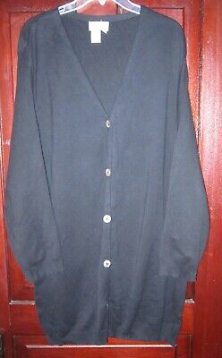 Coldwater Creek Plus 1X Cardigan Sweater Coat Duster Long Button Knit Cotton USA