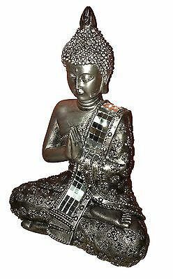 Meditating Thai Buddha Silver Statue Sculpture Ornament 22 cm Figurine