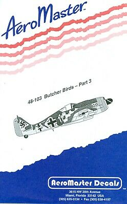 Aeromaster 48-103 Butcher Birds Part 3 Partial Decal Sheet 1/48