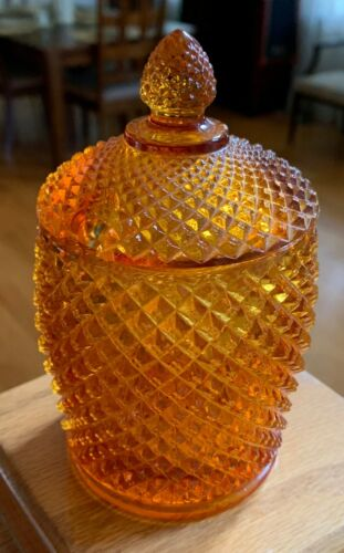 Westmoreland Glass ENGLISH HOBNAIL AMBER Covered Marmalade