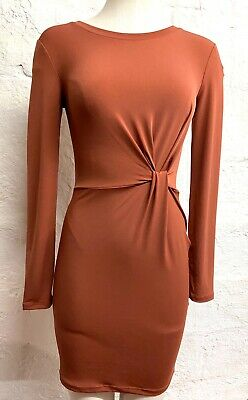 Forever 21 Women's Twist Front Knot Bodycon Dress Light Brown Long Sleeve Small Long Sleeve Knot Front Dress