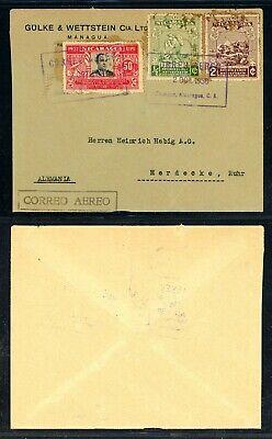Nicaragua 75th Ann Postal History: LOT #35 1938 Air IMPERF MANAGUA - HAMBURG $$$