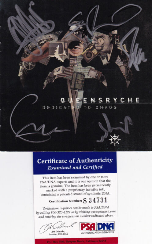 Queensryche signed autographed DEDICATED TO CHAOS CD cover Geoff Tate PSA DNA