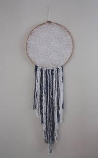 Handmade wall hanging - large dreamcatcher blue/white