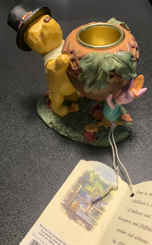 Classic Pooh - Winnie the Pooh and Piglet Taper CandleHolder Acorn Thanksgiving