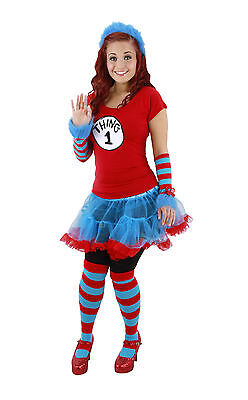 Dr Seuss Cat in the Hat Thing 1 & 2 Adult Costume Striped Knee High Socks Elope ](Dr Seuss Cat In The Hat Costume)