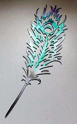 "METAL WALL ART Peacock Feather Colorful Teal & Fuschia 14"" x 4 1/2"""