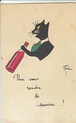Black Cat Postcard (Artist Signed RENE French postcard w black cat drinking red wine c1930  )