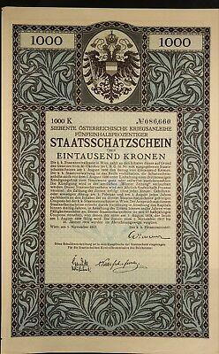 Siebente Österreichische Kriegsanleihe, 1.000 Kronen, Wien 1917, Jugendstil