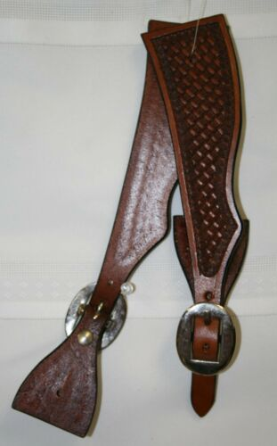 NEW Western Adult Tooled Leather Spur Straps - Dark Oil