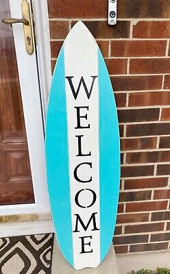 Beach House Welcome Sign Surfboard Sign Porch Decor Housewarming Gift -