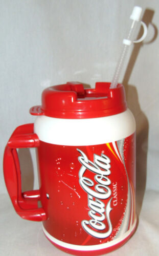 64oz Coca Cola Classic Plastic 64 Oz Travel Mug w/lid & Straw USA Insulated