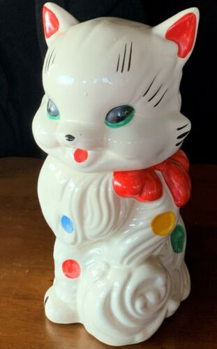 Vintage American Bisque USA Polka Dot Kitty Cat Cookie Jar