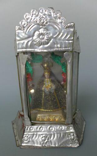 "Vintage Mexican tin nicho box shrine Our Lady of Soledad 8 3/4"" tall"