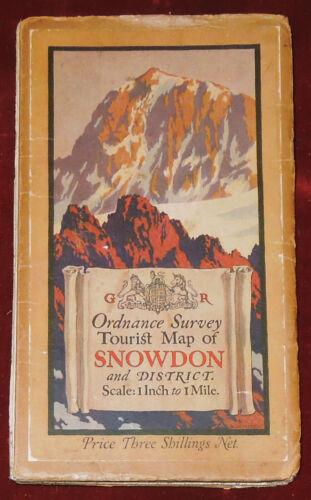 "ORDNANCE SURVEY 1"" CLOTH BACKED TOURIST MAP OF SNOWDON - 1928"