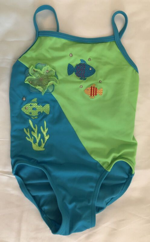 Circo Girls Swimsuit Size 3T Bright Blue & Green Embroidered Fish One Piece NWOT