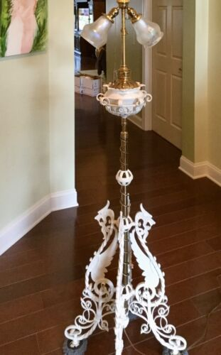 Unique Electric Art Deco Brass & Wrought Iron Ornate PIANO Floor Lamp -Griffins
