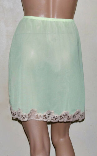 EMILIO PUCCI for Formfit Rogers lime sherbert lace skirt slip M vintage