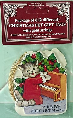 GIFT TAG ORNAMENTS Christmas Pets DOG & CAT Die-Cut Vintage Feline Canine Art