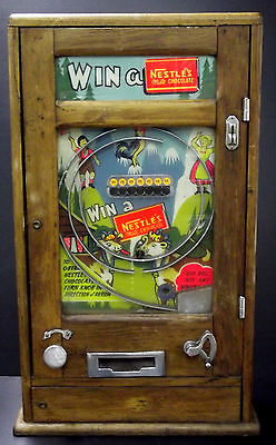 Vintage British Allwin Style Penny Arcade Nestle's Milk Chocolate Machine