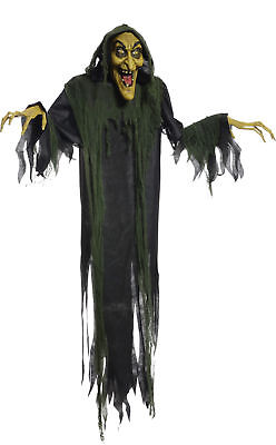 Hanging Witch Animated Halloween Prop Lifesize 6 FT Haunted House Poseable Talks
