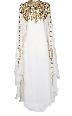 MOROCCAN DUBAI ARABIAN  KAFTANS ABAYA DRESS VERY FANCY LONG GOWN MS CREATION 029 - Fancy White Dress