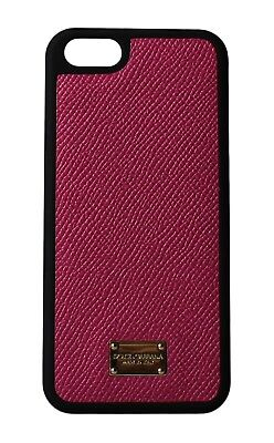 NEW DOLCE & GABBANA Phone Case Pink Gold Logo Leather 12,5x6cm iPhone5