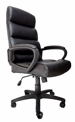 Malaga Black Bonded Leather Executive Managers Office Swivel Chair Graded 95%