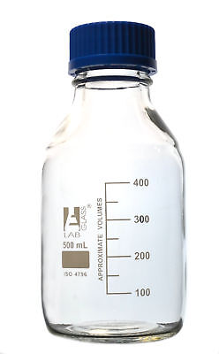 Eisco Labs 500ml Clear Reagent Bottle With Screw Cap And 50ml Graduations
