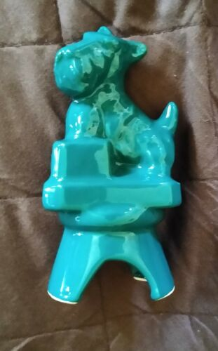 Boyd Glass Ceramic Scottie Puppy Dog Pie Bird Vent Greenish Turquoise