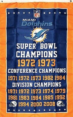 Nfl Miami Dolphins (Miami Dolphins NFL Super Bowl Championship Flag 3x5 ft Sports Banner)