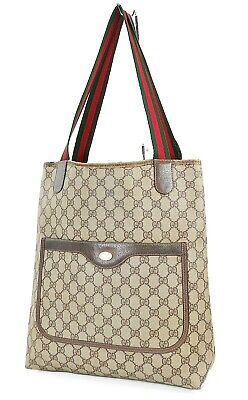 Authentic Vintage GUCCI Brown GG PVC Canvas and Leather Tote Bag Purse #38043A