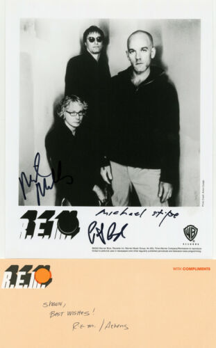 R.E.M signed offical 8x10 Promo Photo with Band Compliments Card RARE