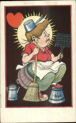 Vinegar Valentine c1910 Postcard - Cleaning Woman Broom Soap Bucket
