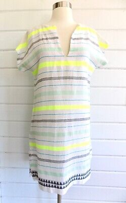 LEMLEM Cap Sleeved Multi Colored Striped Tunic Beach Cover Up - XS