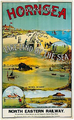 Vintage Rail travel railway poster  A4 RE PRINT Hornsea Lake-Land by the Sea