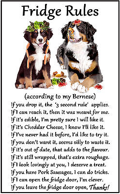 "Bernese Mountain Dog Gift - Large Fridge Rules flexible Magnet 6"" x 4"""