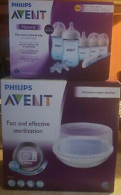 New! Philips Avent Baby Set! Sterilizer AND Natural Newborn Starter Gift Set!