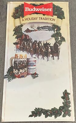 1986 BUDWEISER Christmas poster ~ Clydesdales ~ 16x30 ~ A Holiday Tradition