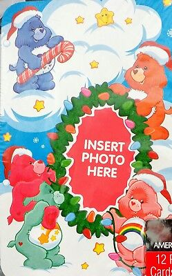 Vintage Care Bears Christmas Photo Holder Greeting Cards NEW n box 12 w - Photo Holder Christmas Cards