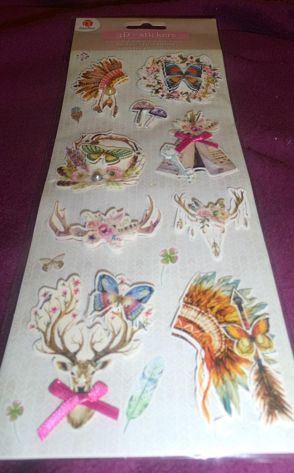 12- 3 D -Decoration-Stickers-Indianer- Niederlanden-Kartenbasteln -Scrapbooking