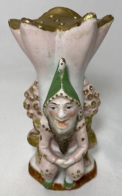Vintage German Bisque Porcelain Creepy Troll Gnome Hat Pin Holder Holds 10 Pins