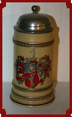 ANTIQUE STUDENT FRATERNITY METTLACH GERMAN BEER STEIN WITH PEWTER LID