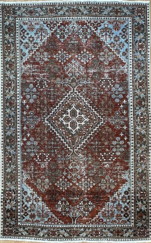Terrific Tribal - 1920s Antique Oriental Rug - Nomadic Carpet - 4.8 X 5.8 Ft