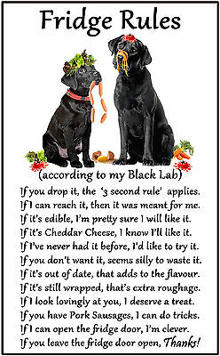 "Labrador Black Dog Gift - Large Fridge Rules flexible Magnet 6"" x 4"""