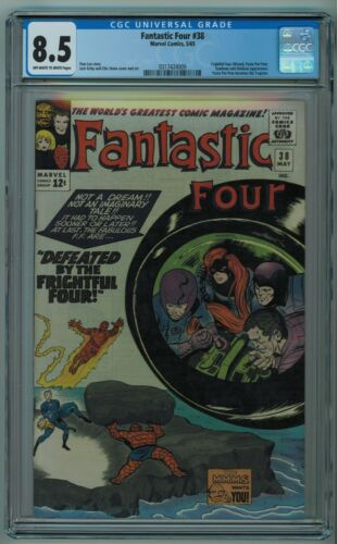 FANTASTIC FOUR #38 CGC 8.5 HIGH GRADE KIRBY COVER OW/W PAGES 1965