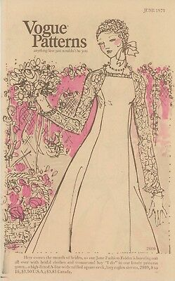 Vogue Pattern Catalog June 1973 Bridal Wedding Gown Designs - Bridal Catalogs