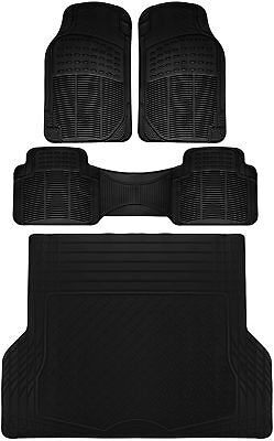 4pc All Weather Heavy Duty Rubber SUV Floor Mat Black 2 Row  Trunk Liner 3C