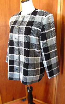 Vintage Alfred Dunner Jackie O' Black/White/Gray Plaid Casual/Dress Jacket S14